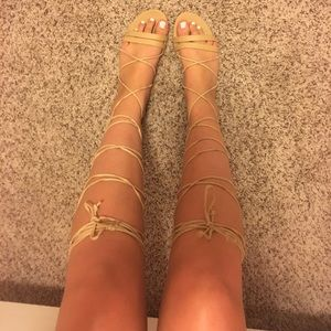Shoes - Daisy Street Nude Gladiator Sandals